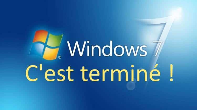 Fin de vie de Windows 7 le 14/01/2020